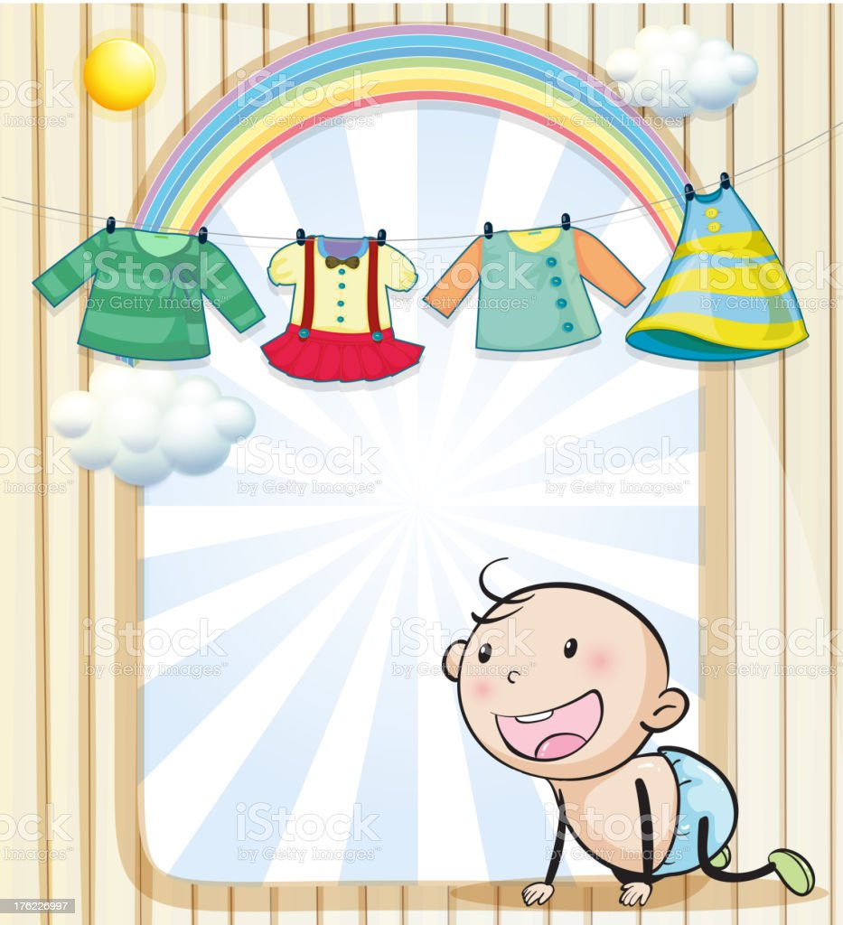 Baby girl's clothes hanging royalty-free stock vector art