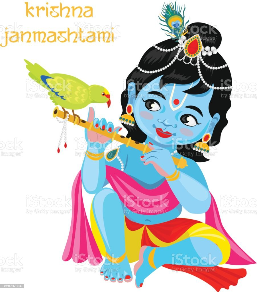 Baby God Krishna With Flute And Parrot Stock Illustration