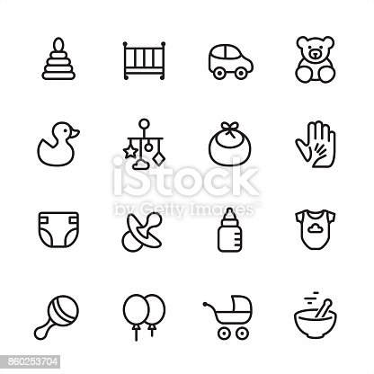 16 line black and white icons / Set #28