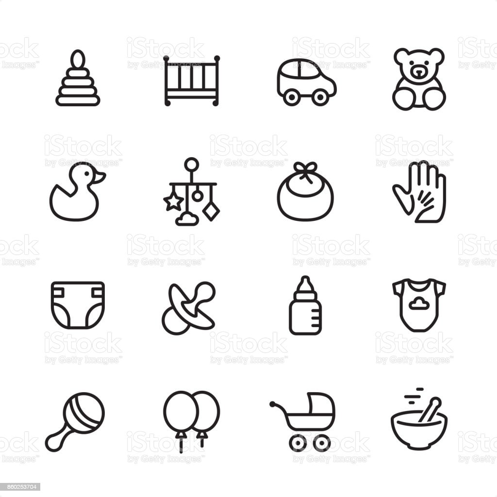 Baby Goods - outline icon set vector art illustration
