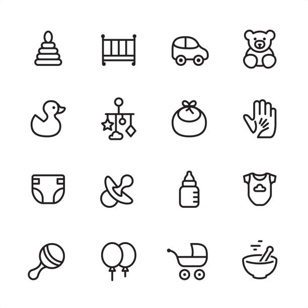 Baby Goods - outline icon set 16 line black and white icons / Set #28 baby clothing stock illustrations
