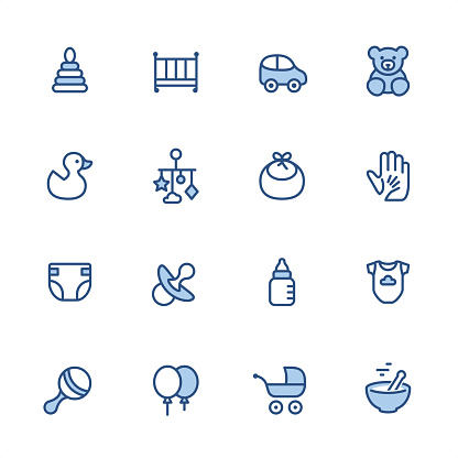Baby Goods - Pixel Perfect blue outline icons
