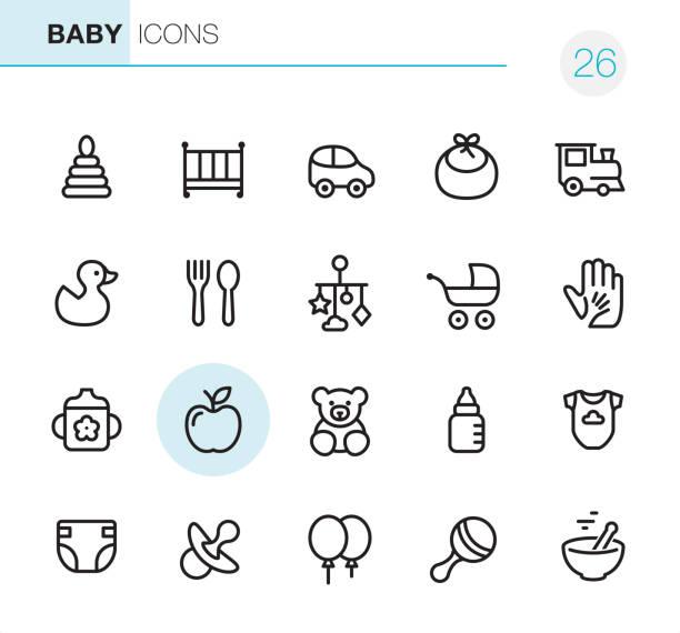 ilustrações, clipart, desenhos animados e ícones de bens de bebê - perfeito ícones pixel - bebês
