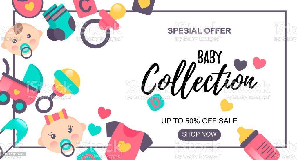 0fe67e3c4 Baby Goods sale banner. Special offer. Sale -50%. Could be used for store,  shop, internet, newsletter, advertisement design. - Illustration .