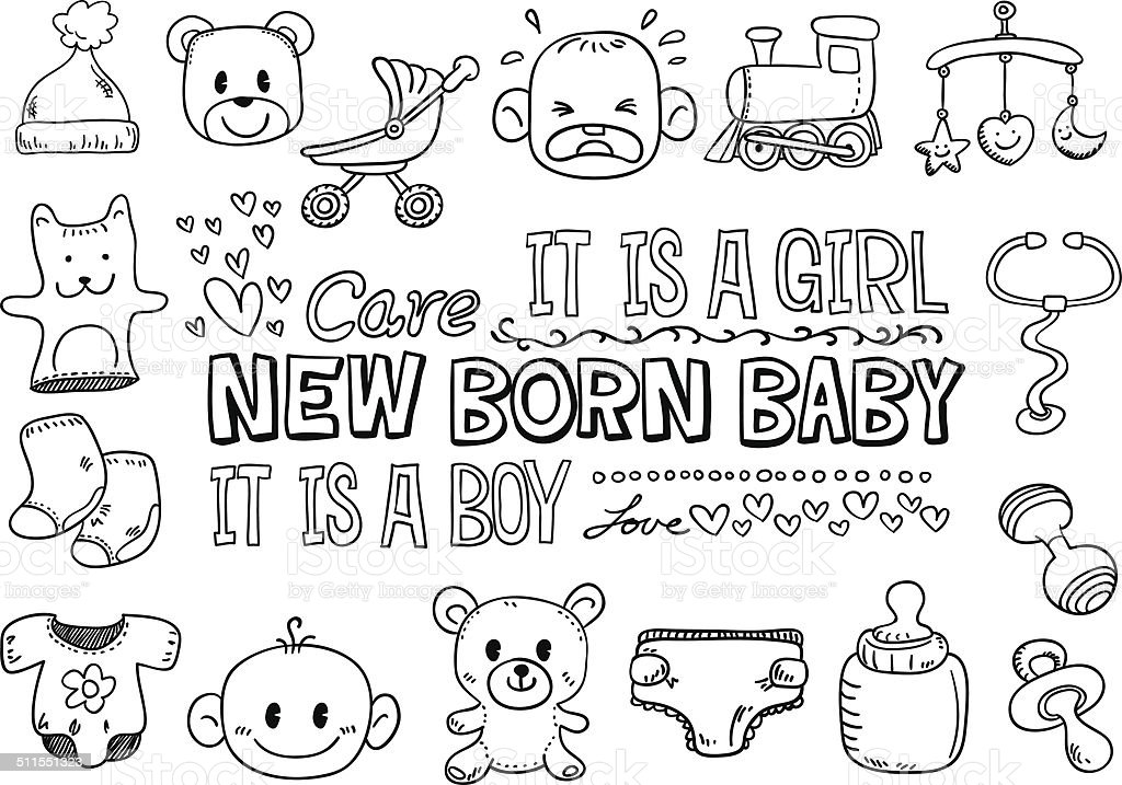 Baby goods with text in black and white - Illustration vector art illustration