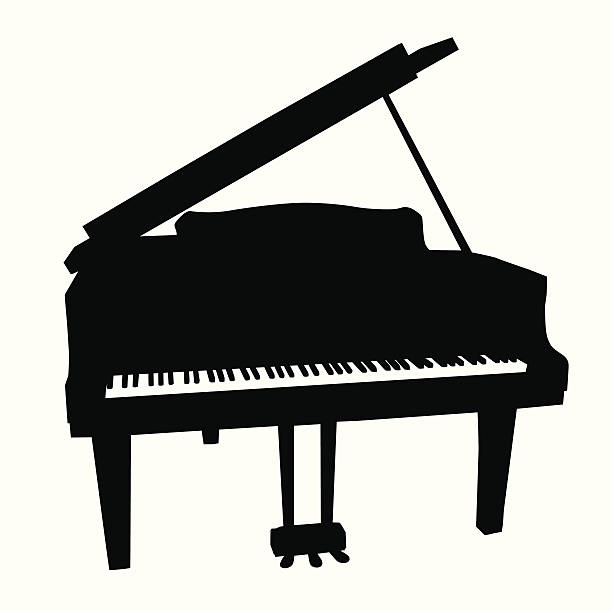 baby grand vector silhouette - piano stock illustrations