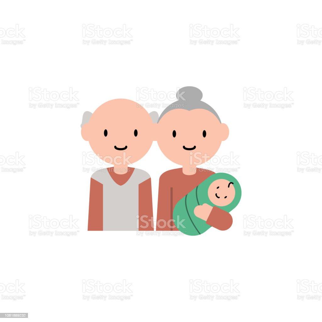 Ilustracion De Bebe Abuelos Dibujos Animados Icono Elemento Del