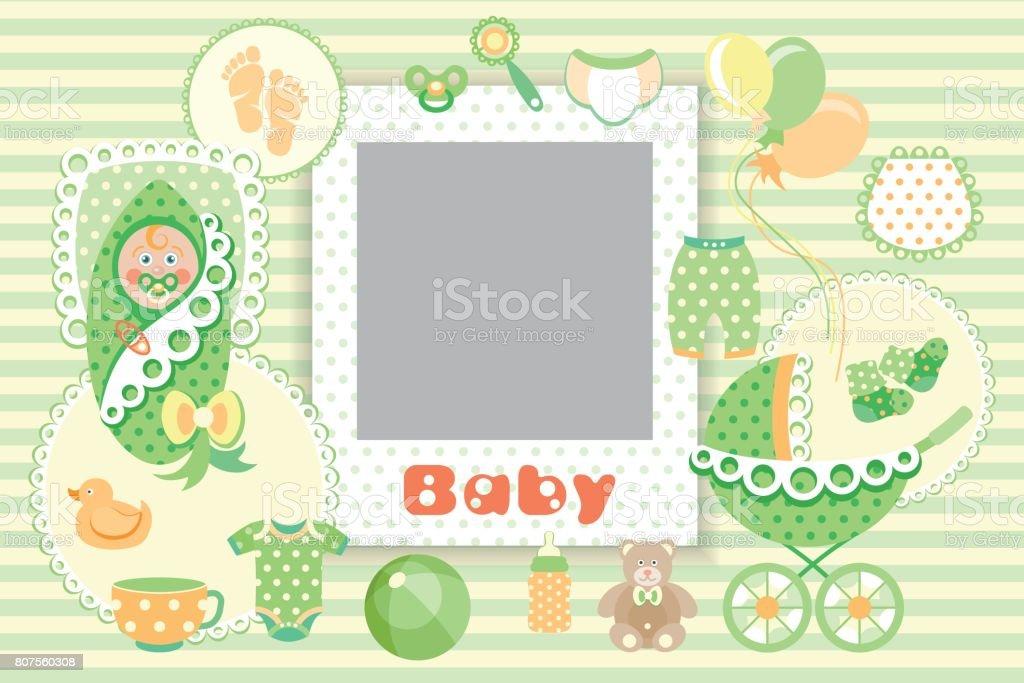 Baby green Set vector art illustration