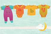Four colorful baby suits hanging on blue background with moon and decorative stars. Vector. EPS 8.