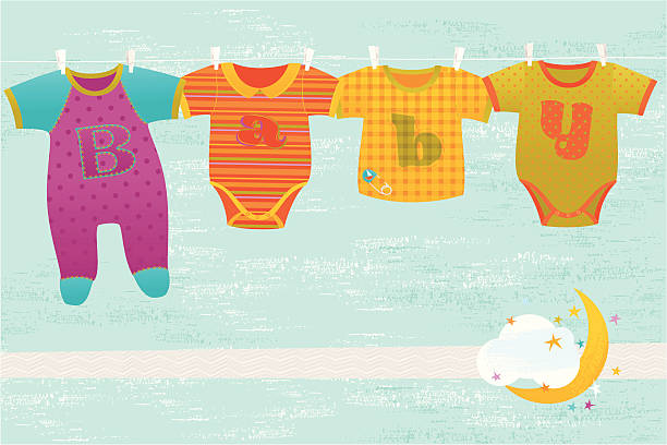 Baby Greeting Card Four colorful baby suits hanging on blue background with moon and decorative stars. Vector. EPS 8. baby clothing stock illustrations