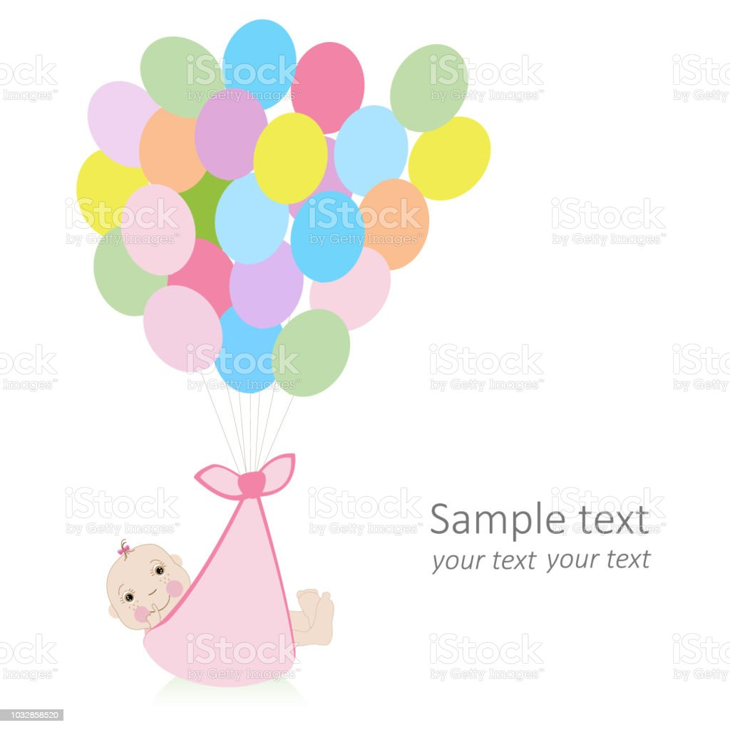 baby greeting card with balloon and newborn baby stock vector art
