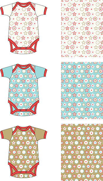 stockillustraties, clipart, cartoons en iconen met baby gro with christmas style stars and circles allover pattern - alleen baby's
