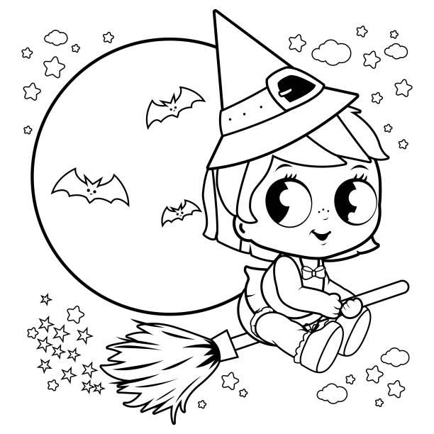 베이비 할로윈 마녀 빗자루 밤 하늘에서 비행. 도 서 페이지를 색칠 하는 흑인과 백인 - 색칠하기 stock illustrations