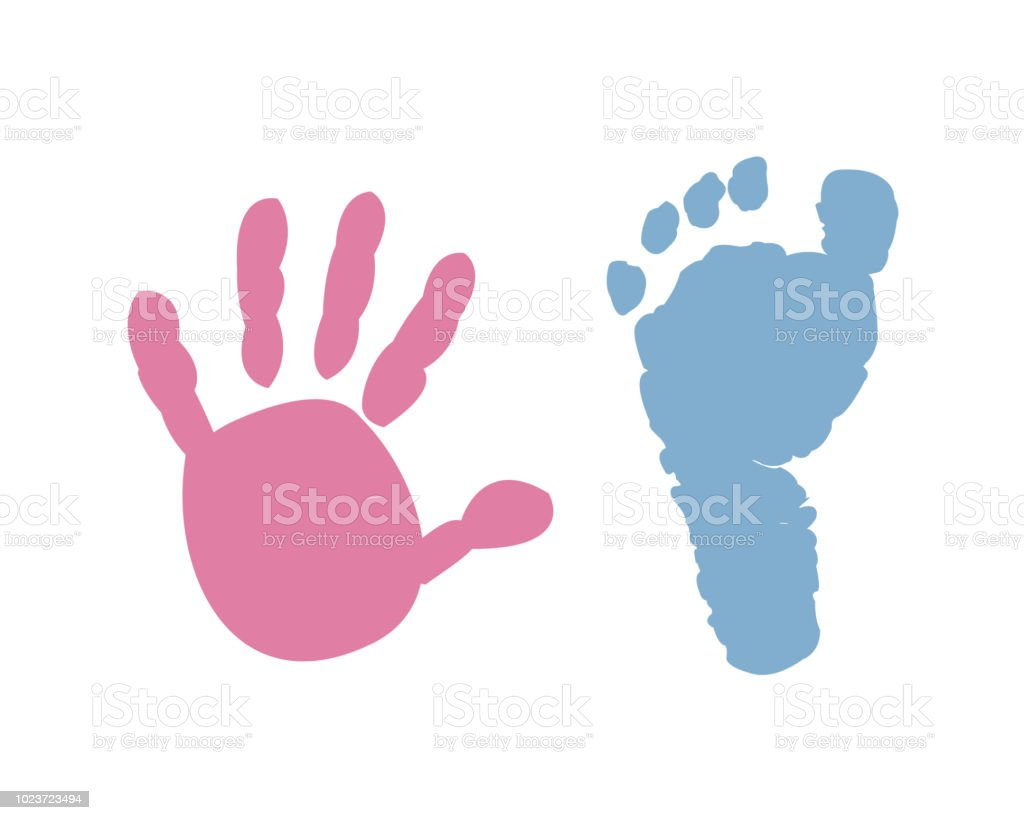 Baby hand baby foot prints background vector art illustration