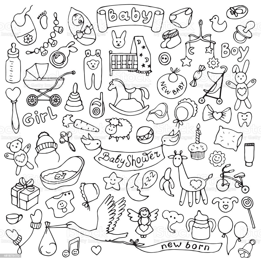 Baby hand drawn doodle set vector art illustration