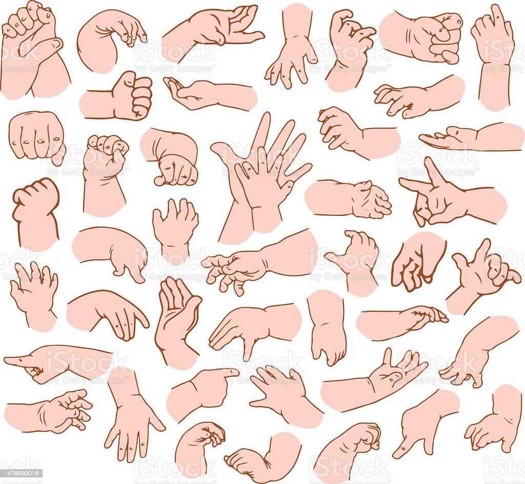 Baby Hands Pack vector art illustration