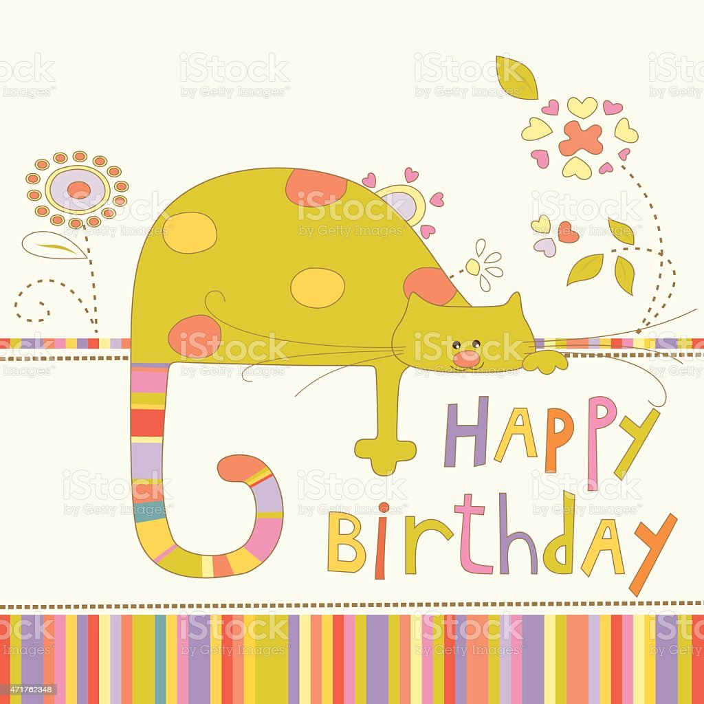 Baby happy birthday card with cat and flowers stock vector art baby happy birthday card with cat and flowers royalty free baby happy birthday card with bookmarktalkfo Choice Image
