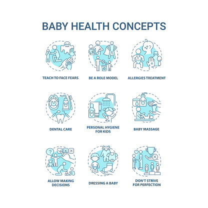 Baby health blue concept icons set