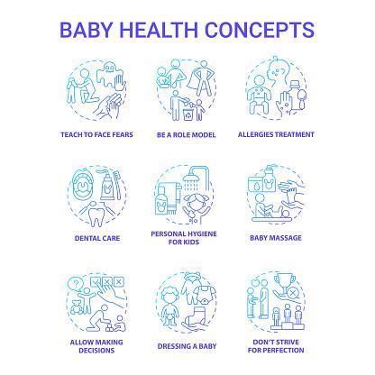 Baby health blue gradient concept icons set