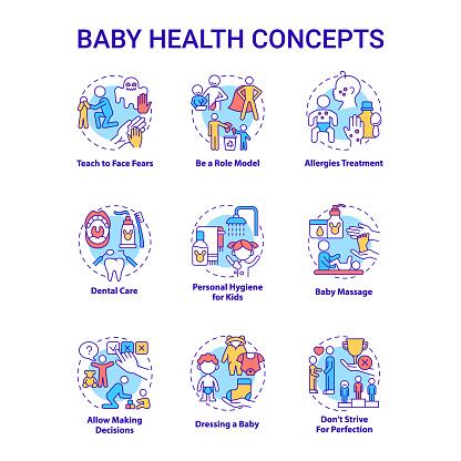 Baby health concept icons set