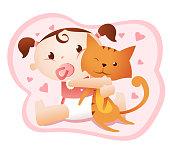 baby holding cute cat kitten kitty