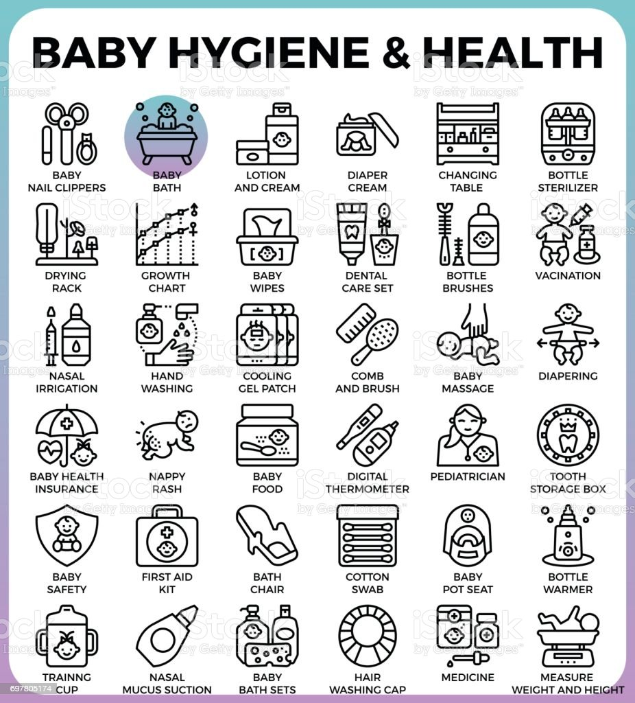 Baby hygiene and health vector art illustration