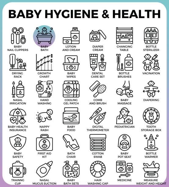 ilustrações, clipart, desenhos animados e ícones de saúde e higiene do bebê - pediatra