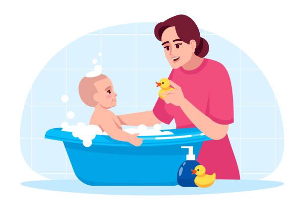 bildbanksillustrationer, clip art samt tecknat material och ikoner med baby hygien semi platt rgb färg vektor illustration - baby bathtub