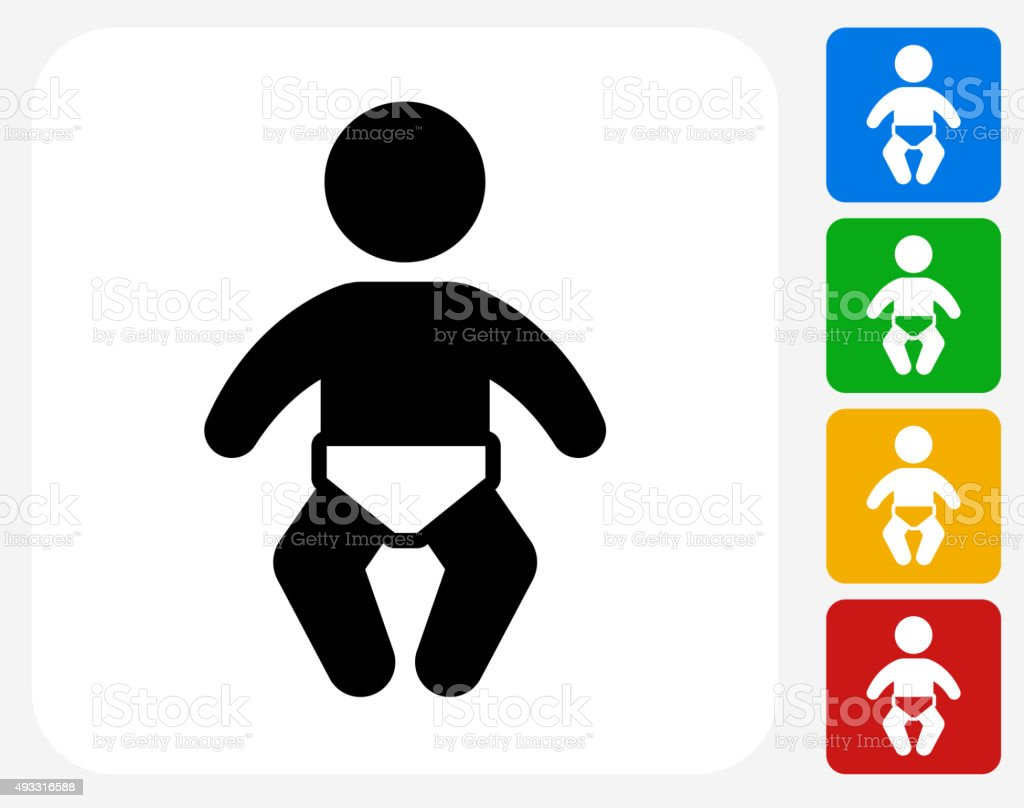 Baby Icon Flat Graphic Design vector art illustration