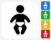Baby Icon Flat Graphic Design