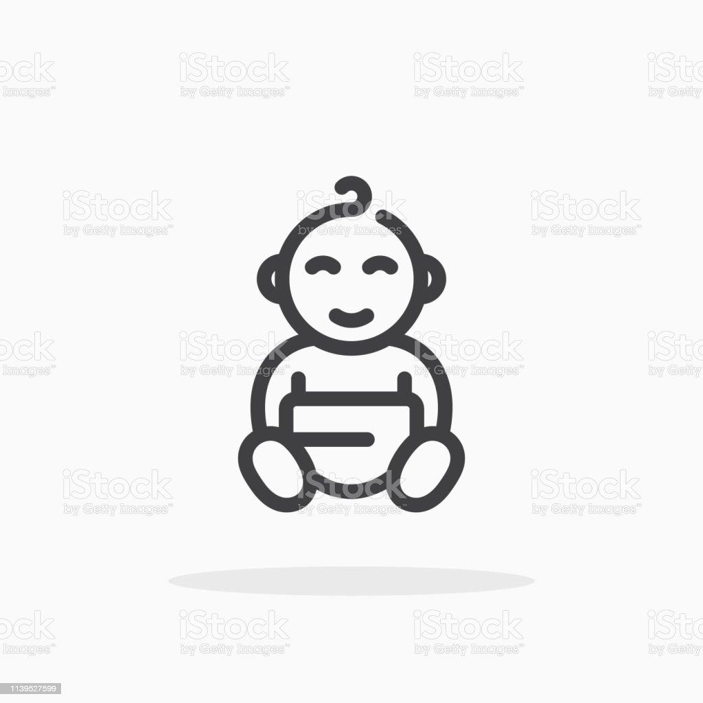 Baby-icoon in lijnstijl. - Royalty-free Aaien vectorkunst
