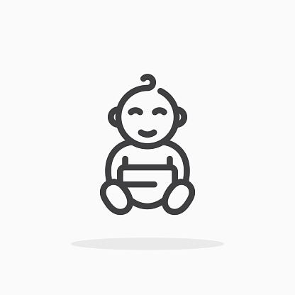 Baby icon in line style.