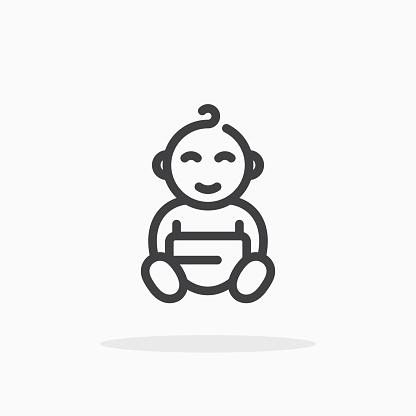 Babyicoon In Lijnstijl Stockvectorkunst en meer beelden van Aaien
