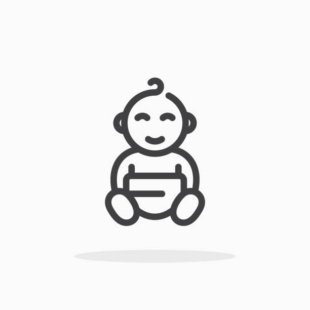 baby icon in line style. - new born baby stock illustrations