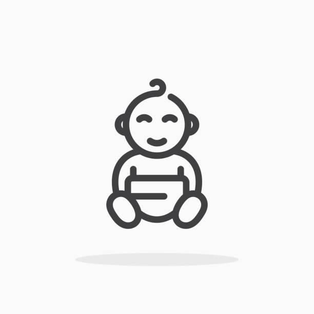 ilustrações, clipart, desenhos animados e ícones de ícone do bebê no estilo da linha. - bebês