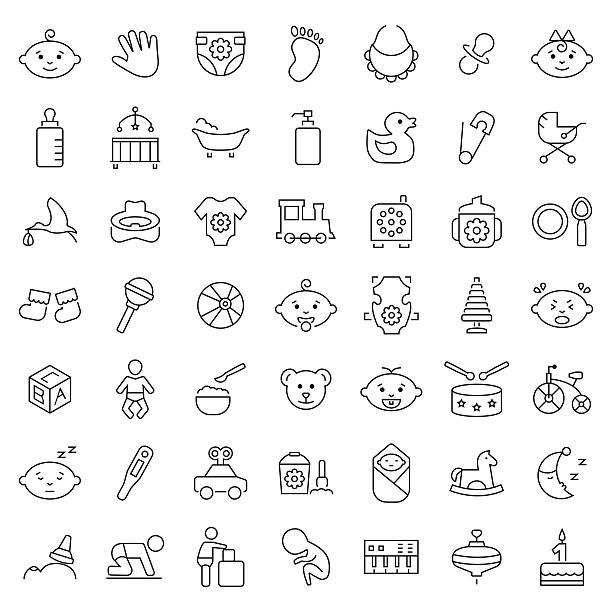 baby icon set in thin line style. vector symbols. - möbelfüße stock-grafiken, -clipart, -cartoons und -symbole