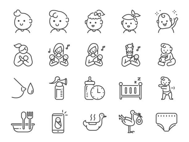 赤ちゃんアイコンセット。新生児、幼児、子供、子供、親などとしてアイコンが含まれています。 - 母親点のイラスト素材/クリップアート素材/マンガ素材/アイコン素材