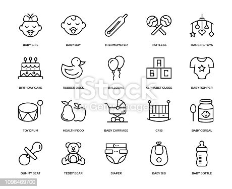 Baby Icon Set - Thin Line Series