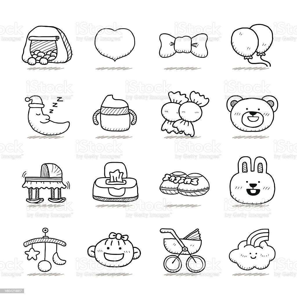 Baby icon set royalty-free baby icon set stock vector art & more images of animal