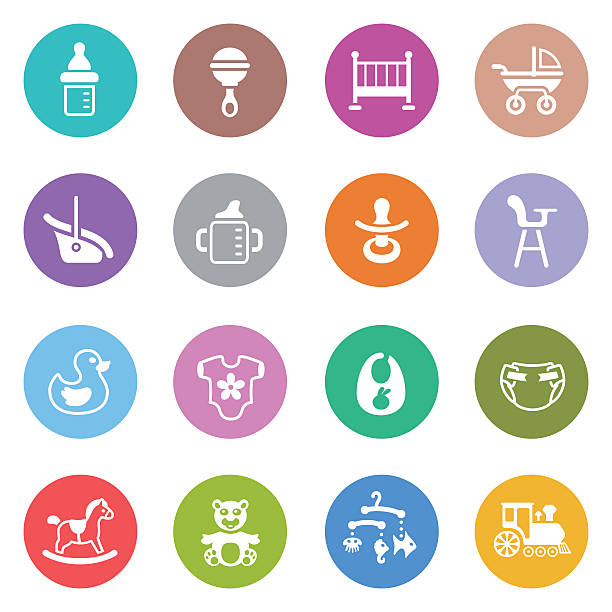 Baby Icon Set Illustrator Vector EPS file (any size), High Resolution JPEG preview (5417 x 5417 px) and Transparent PNG (5417 x 5417 px) included. Each element is named, grouped and layered separately. Very easy to edit. infant bodysuit stock illustrations
