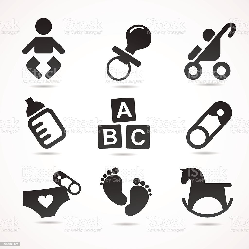 Baby icon set. vector art illustration