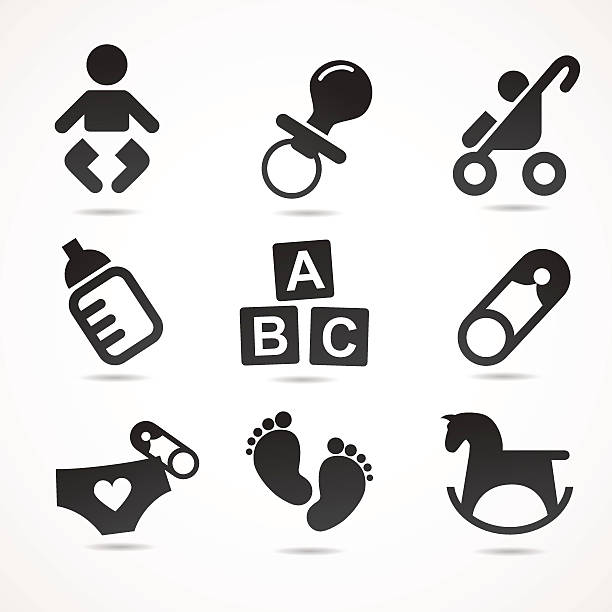 Baby icon set. Vector illustration. baby carriage stock illustrations