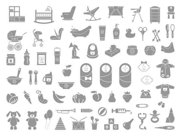 赤ちゃんのアイコンセット - ベビーフード点のイラスト素材/クリップアート素材/マンガ素材/アイコン素材