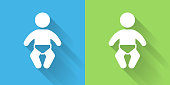 Baby Icon with Long Shadow. The icon is on Blue Green Background with Long Shadow. There are two background color variations included in this file. The icon is rendered in white color and the background is blue or green. There is also a 45 degree long shadow.