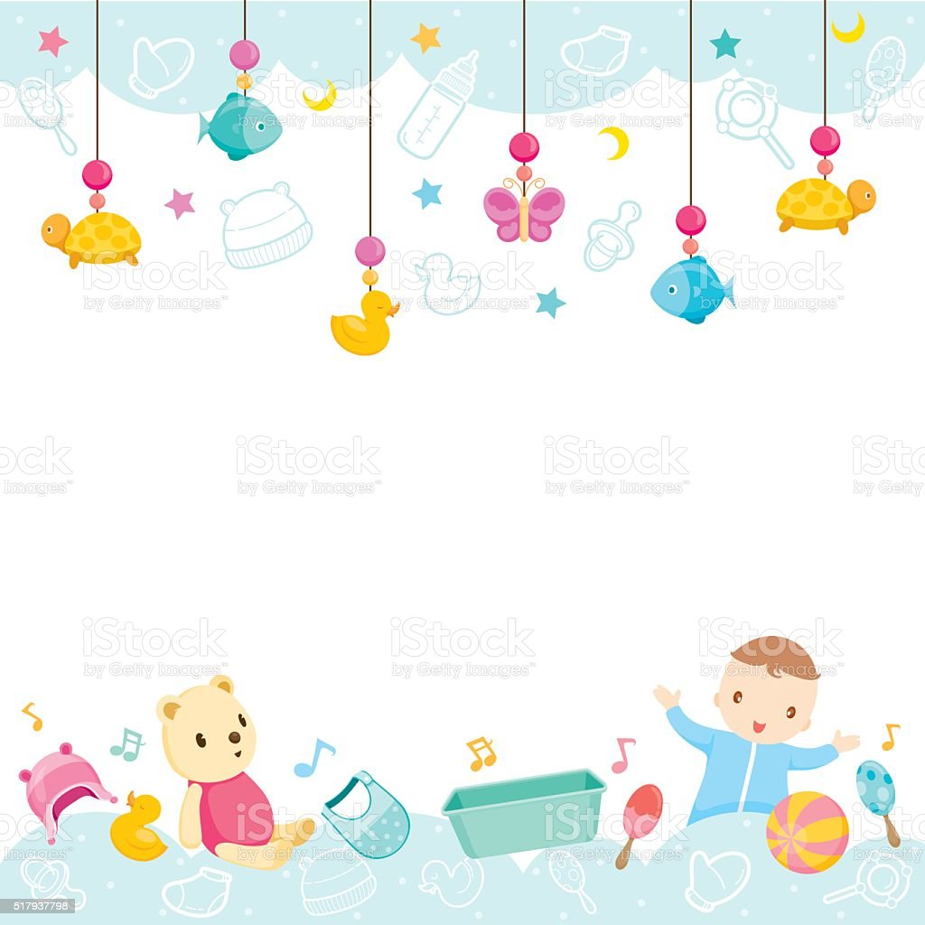 Baby icons and objects background stock vector art more - Baby background ...