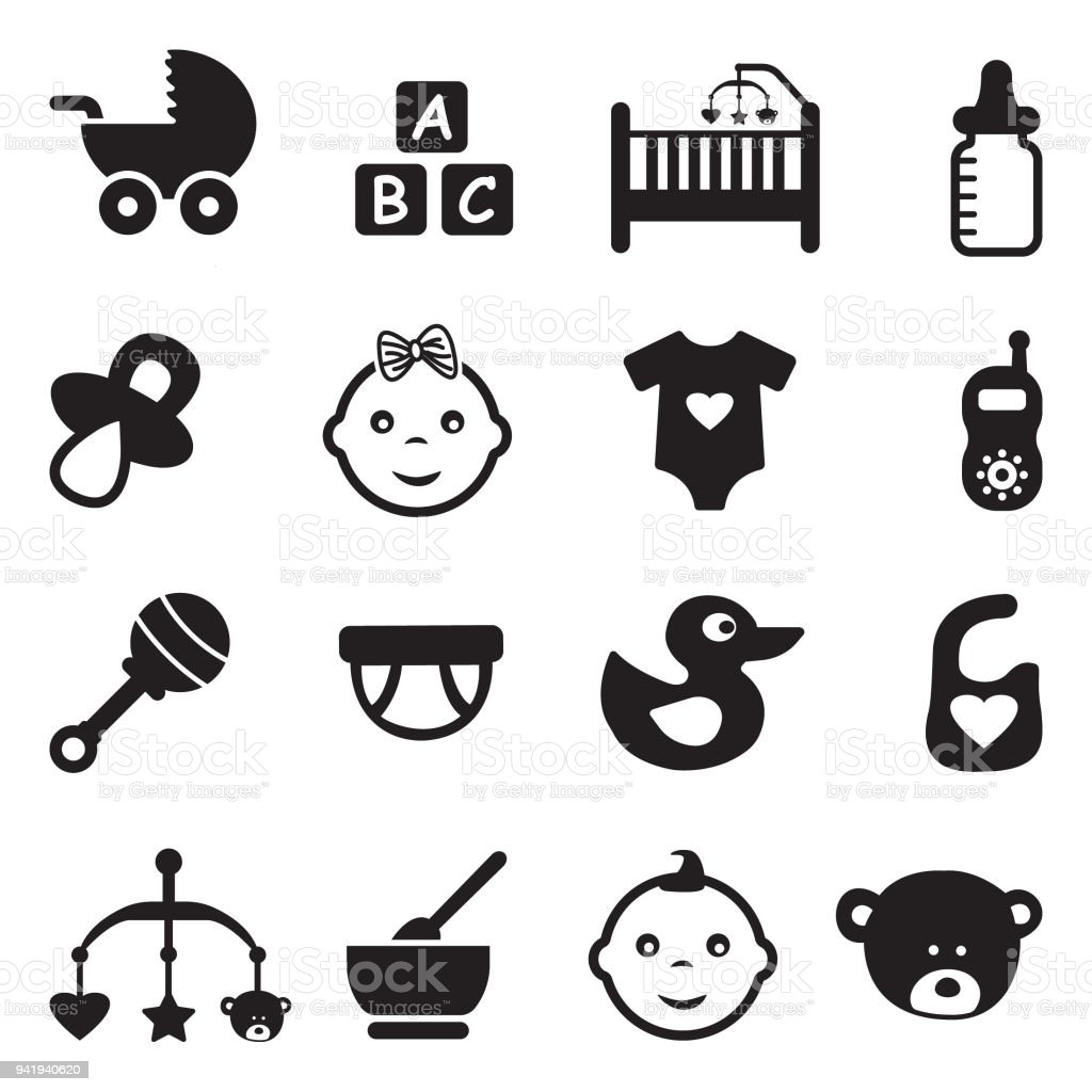 Baby Icons. Black Flat Design. Vector Illustration. vector art illustration