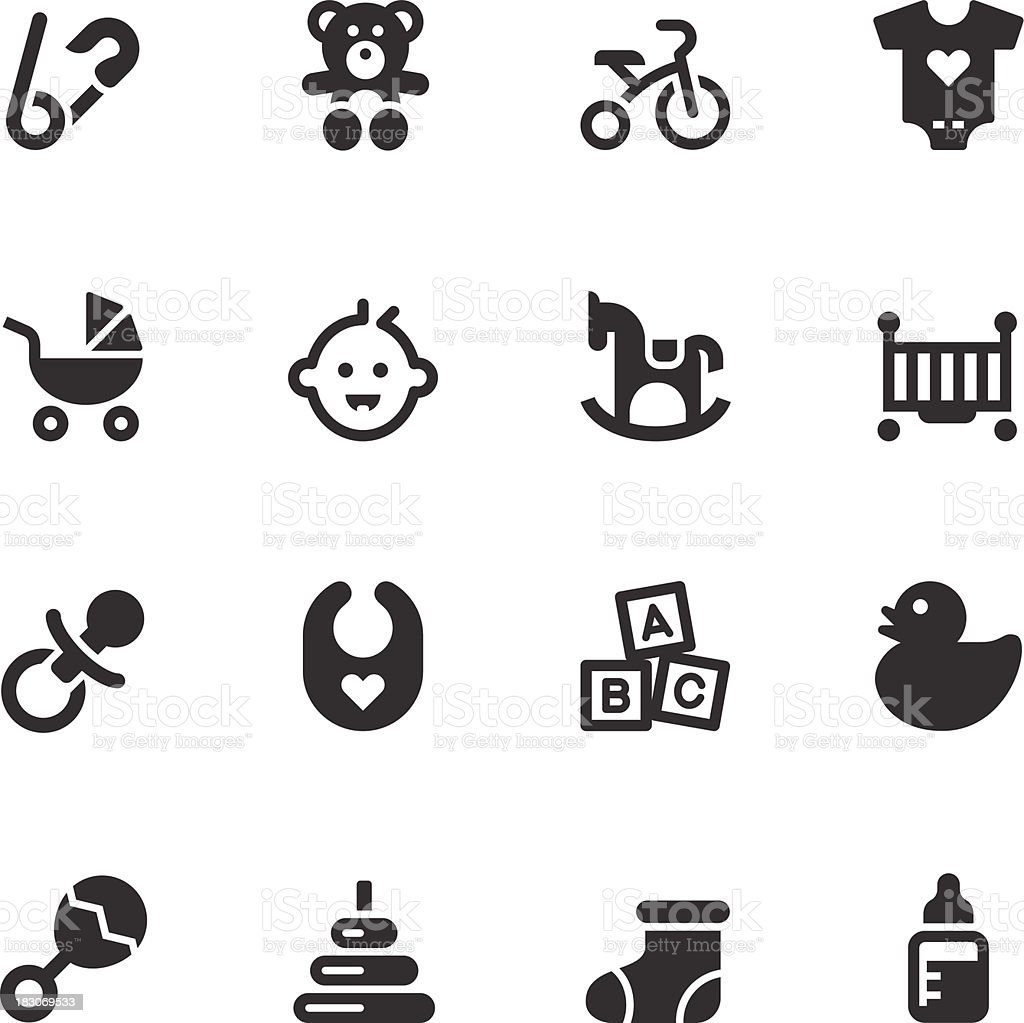 Baby Icons - Black Series vector art illustration