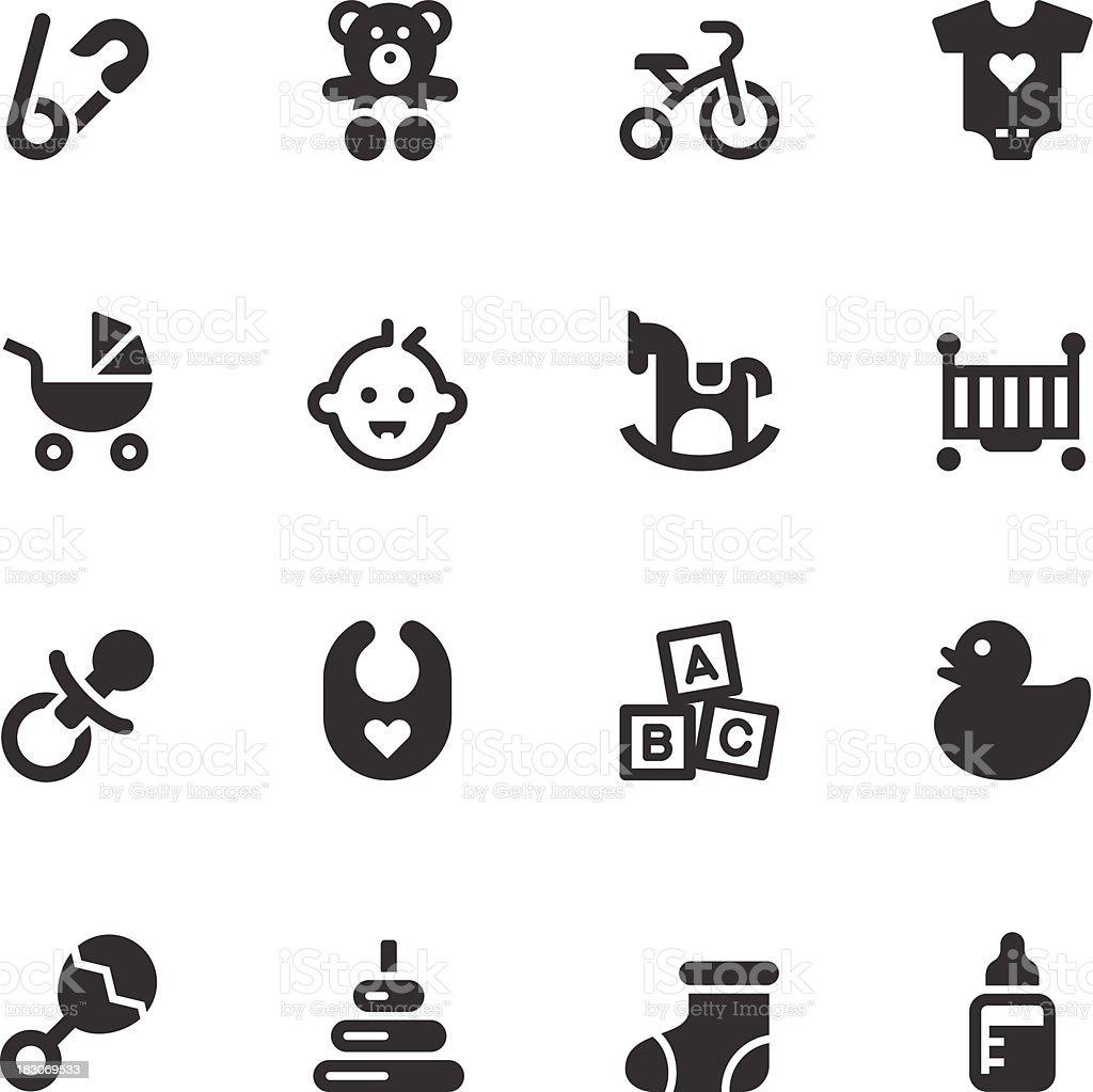 Bébé série d'icônes-Noir - Illustration vectorielle