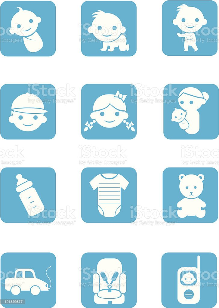 baby icons - bloc series vector art illustration