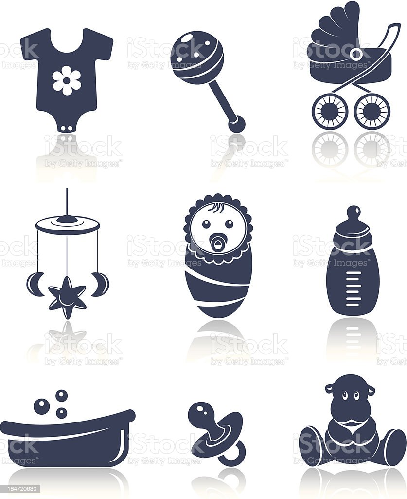 Baby icons blue set royalty-free stock vector art